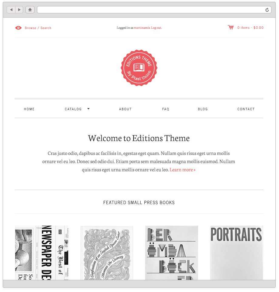Editions Theme home page